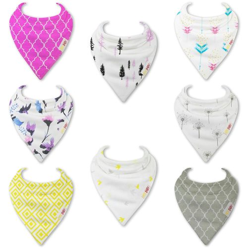 Pink and Grey Bandana bibs