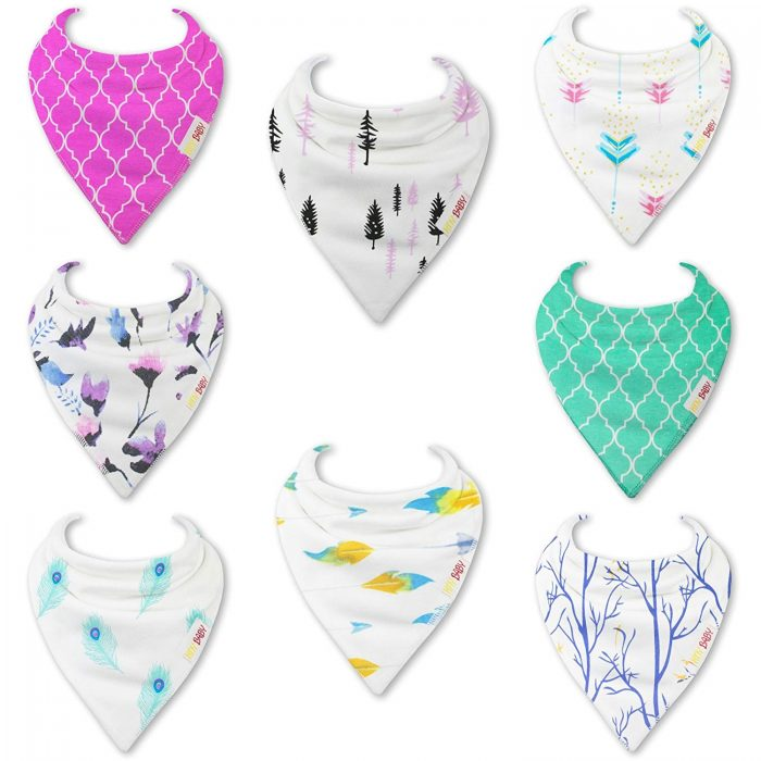 pink and blue bibs